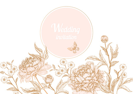 Template vintage card for the design of wedding invitations, greetings. Floral exotic vintage decoration. Garden flowers peonies. Ancient oriental style. Vector illustration art.