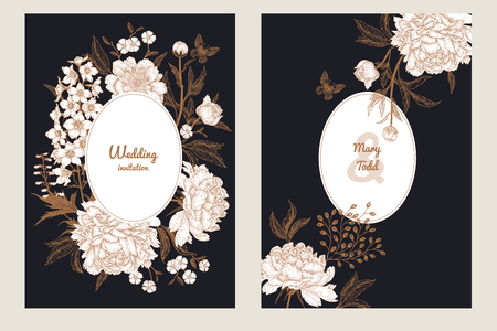 Templates of wedding invitations set. Decoration with butterfly and garden flowers delphinium and peonies. Floral vector illustration. Vintage engraving. Oriental style. Cards with gold foil print.