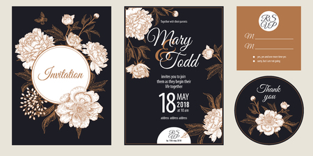 Templates of wedding invitations set. Decoration with garden flowers peonies. Floral vector illustration. Vintage engraving. Oriental style. Cards with gold foil print on black background.