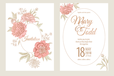 Templates of wedding invitations cards. Decoration with garden flowers peonies, frame pattern. Floral vector illustration set. Vintage engraving. Oriental style. Pink and white.