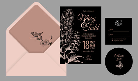 Wedding invitation cards and cover. Invite, thank you, rsvp templates. Decoration with flower, butterfly, bird, frame pattern. Floral vector illustration set. Vintage. Oriental style. Black and pink Illustration