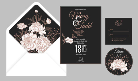 Wedding invitation cards and cover. Invite, thank you, rsvp templates. Decoration with flowers peonies, bird, frame pattern. Floral vector illustration set. Vintage. Oriental style. Black, white, gold
