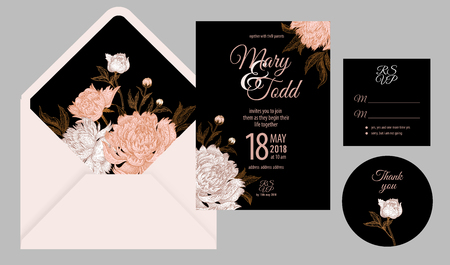 Wedding invitation cards and cover. Invite, thank you, rsvp templates. Decoration with flower peonies, frame pattern. Floral vector illustration set. Vintage. Oriental style. White, black and pink