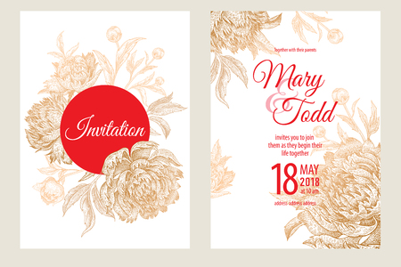 Wedding invitations set templates. Decoration cards with garden flowers and foliage of peonies. Floral vector illustration. Vintage engraving. Oriental style. Gold foil print, red and white.