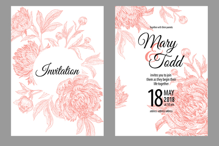 Wedding invitations cards templates. Decoration with garden flowers peonies, frame pattern. Floral vector illustration set. Vintage engraving. Oriental style. Pink and white color. Stock Illustratie