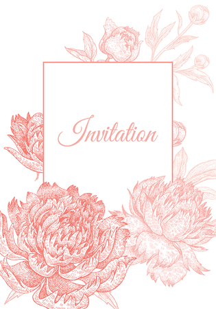 Wedding invitations cards templates. Decoration with garden flowers peonies, frame pattern. Floral vector illustration. Vintage engraving. Oriental style. Pink and white color.