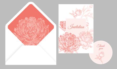 Bruiloft uitnodigingskaarten en omslag. Nodig uit, bedankt sjablonen. Decoratie met bloem en gebladerte van pioenrozen, kaderpatroon. Floral vector illustratie set. Wijnoogst. Oosterse stijl. Wit en roze