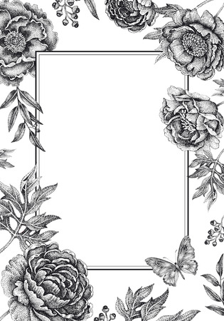 Wedding invitations cards templates. Decoration with garden flowers, frame pattern. Floral vector illustration. Vintage engraving. Oriental style. Black peonies, roses on white background.