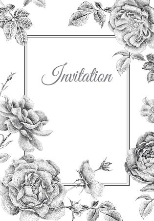 Wedding invitations cards templates. Decoration with garden flowers, frame pattern. Vintage engraving. Oriental style. Black peonies, roses on white background.