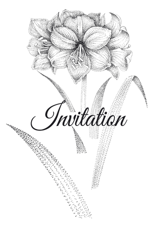 Wedding invitations card template. Decoration with garden flowers amaryllis, frame pattern. Vintage engraving. Oriental style. Black and white