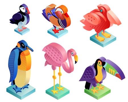Zestaw ptaków izometryczny. Flaming, maskonur, pelikan, kaczka mandarynka, pingwin i tukan. Sztuka ilustracji. Wektorowe ikony zwierząt w oryginalnym, niezwykłym stylu na białym tle.