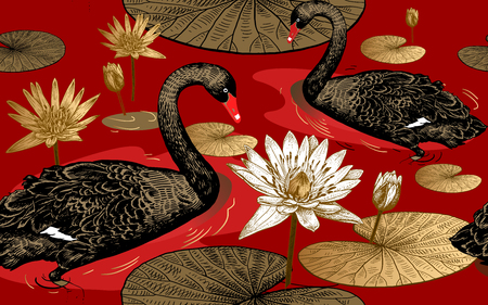 Seamless pattern with birds swans, flowers and leaves of water lily. Vector illustration art. Vintage engraving. Printing with gold foil, black, white and red. Template for paper, textiles, wallpaper