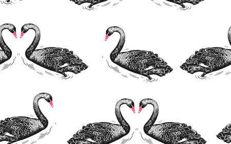 Seamless pattern with birds swans, flowers and leaves of water lily. Vector illustration art. Vintage engraving. Black and white. Template for design of paper, textiles, wallpaper.