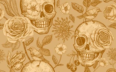 Schädel, Rosenblüten, Tulpen und Vögel. Nahtloses Blumenmuster. Vektorillustration mit Symbolen des Tages tot. Jahrgang. Drucken Sie goldene Folie auf Goldhintergrund. Vorlage für Papier, Textilien, Tapeten.
