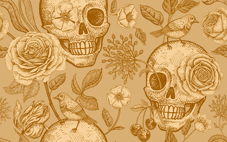 Skulls, rose flowers, tulips and birds. Floral seamless pattern. Vector illustration with symbols of day dead. Vintage. Print golden foil on gold background. Template for paper, textiles, wallpaper.