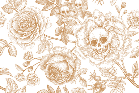 Skulls, blooming rose flowers and foliage. Floral seamless pattern. Vector illustration with symbols of day dead. Vintage. Print golden foil on white background. Template of paper, textiles, wallpaper