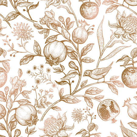 Exotic flowers, birds and fruits. Vintage luxury fabrics. Art vector illustration. Unusual template for design of textiles, paper, clothing, case phone cover Stock Illustratie