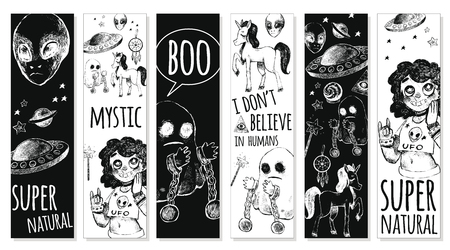 Ensemble de signets. Soucoupe volante, extraterrestre, fantôme, licorne, Dreamcatcher, boule de cristal, baguette magique, fille. Style de croquis d'illustration vectorielle. Mystère, étrange, inhabituel, surnaturel. Noir et blanc.