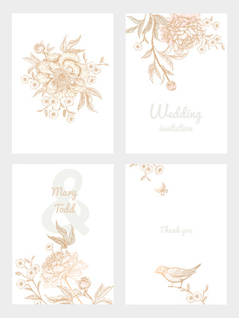 Templates of wedding invitations set. Decoration with birds and garden flowers by peonies. Floral vector illustration. Vintage engraving. Oriental style. Cards with gold foil print. Ilustração