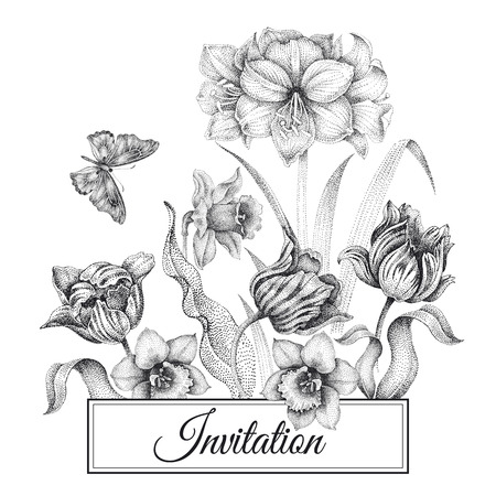 Wedding invitations cards template. Decoration garden flowers, butterfly, frame pattern. Floral vector illustration. Vintage engraving. Oriental style. Tulips, amaryllis, narcissus. Black and white Archivio Fotografico - 112521230