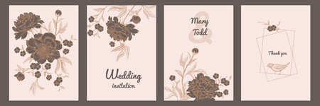 Templates of wedding invitations set. Decoration with birds and garden flowers by peonies. Floral vector illustration. Vintage engraving. Oriental style. Cards with gold foil print. Ilustrace