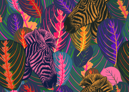 Seamless pattern with tropical leaves and animals zebras. Vector illustration. Exotic motifs of nature wildlife. Colorful template for the design of fabrics, textile, paper, wallpaper. Illustration
