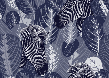 Seamless pattern with tropical leaves and animals zebras. Vector illustration. Exotic motifs of nature wildlife. Black and white template for the design of fabrics, textile, paper, wallpaper.
