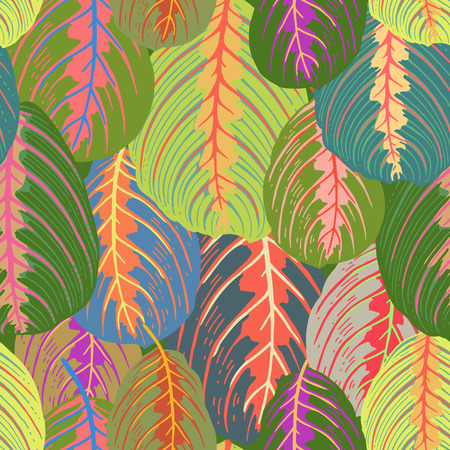 Seamless pattern with tropical leaves. Vector illustration. Exotic motifs of nature. Template for the design of fabrics, textile, paper, wallpaper.