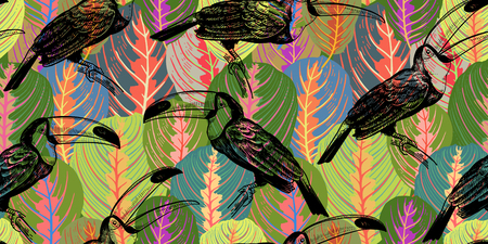 Seamless pattern with tropical leaves and birds toucans. Vector illustration. Exotic motifs of nature wildlife. Colorful template for the design of fabrics, textile, paper, wallpaper.