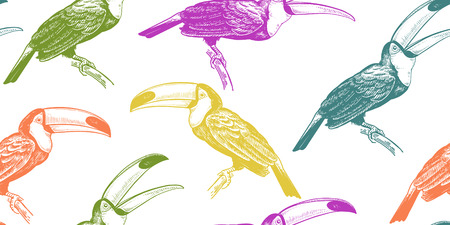 Seamless pattern with tropical birds toucans. Vector illustration. Exotic motifs of nature wildlife. Colorful template for the design of fabrics, textile, paper, wallpaper. Ilustrace