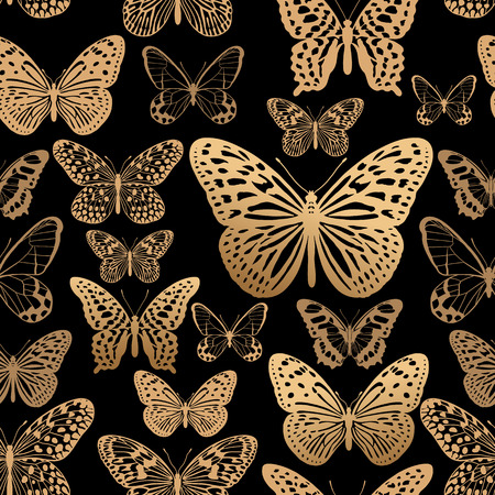 Golden foil print on red background. Tropical butterflies seamless pattern. Vector illustration. Luxury decoration for interior and clothing. Trendy template for paper, wallpaper, textiles.
