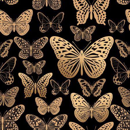 Impression feuille d'or sur fond rouge. Modèle sans couture de papillons tropicaux. Illustration vectorielle. Décoration de luxe pour l'intérieur et les vêtements. Modèle tendance pour papier, papier peint, textiles. Vecteurs
