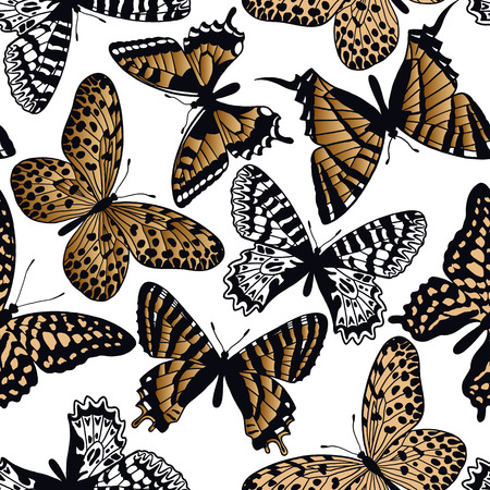Gold and black butterflies on a white background seamless pattern. Vector illustration. Template for the design of trend fabrics, home textiles, clothing, paper, wallpaper, unusual packaging, curtains.