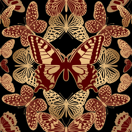 Geometric ornament mosaic optic abstract butterflies. Golden insects on black background. Seamless pattern luxury fabrics, textiles, prints pillows, summer clothing. Trendy vector abstract background.