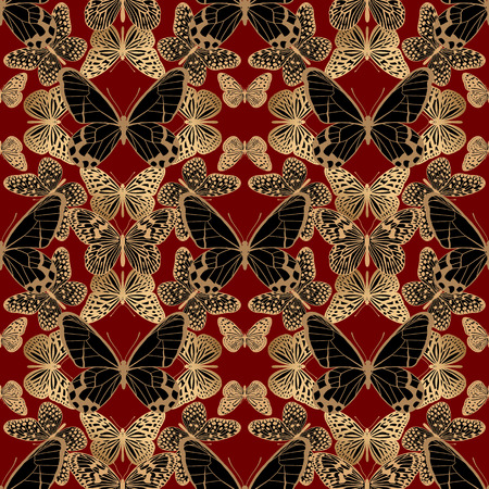 Geometric ornament mosaic optic abstract butterflies. Golden, black and gold illustration. Seamless pattern luxury fabrics, textiles, prints pillows, summer clothing. Trendy vector abstract background. Ilustrace