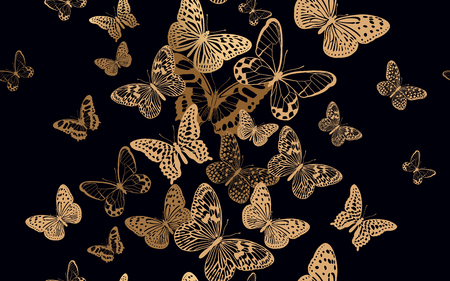 Flock of fluttering butterflies. Seamless pattern for design fabrics, textiles, prints on pillows, summer bags, luxury trendy clothing. Vector abstract background. Printing gold foil and black color.