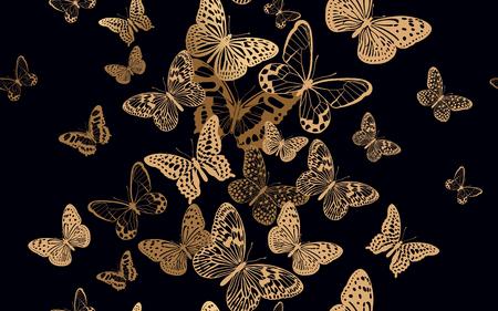 Schwarm flatternder Schmetterlinge. Nahtloses Muster für Designstoffe, Textilien, Drucke auf Kissen, Sommertaschen, trendige Luxuskleidung. Vektor abstrakter Hintergrund. Bedrucken von Goldfolie und schwarzer Farbe.
