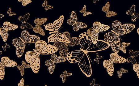 Schwarm flatternder Schmetterlinge. Nahtloses Muster für Designstoffe, Textilien, Drucke auf Kissen, Sommertaschen, trendige Luxuskleidung. Vektor abstrakter Hintergrund. Bedrucken von Goldfolie und schwarzer Farbe. Vektorgrafik