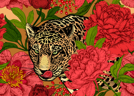 Leopard and peonies. Seamless floral pattern with animals and garden flowers. Modern decor Beast style. Vector illustration. Template for paper, textile, wallpaper. Full color ornament.