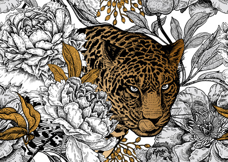 Leopard and peonies. Seamless floral pattern with animals and garden flowers. Modern decor Beast style. Vector illustration. Template for paper, textile, wallpaper. Black, white and gold foil. Stock Vector - 127257807