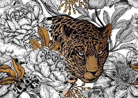 Leopardo y peonías. Patrón floral transparente con animales y flores de jardín. Decoración moderna de estilo Bestia. Ilustración de vector. Plantilla para papel, textil, papel tapiz. Lámina negra, blanca y dorada. Ilustración de vector