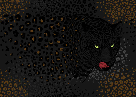 Leopards. Seamless pattern with animals of wildlife. Modern decor Beast style. Vector illustration. Template for paper, textile, wallpaper. Black, grey and gold foil. Spots and stains. Ilustrace