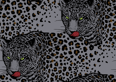 Leopards. Seamless pattern with animals of wildlife. Modern decor Beast style. Vector illustration. Template for paper, textile, wallpaper. Grey, black and red. Spots and stains.