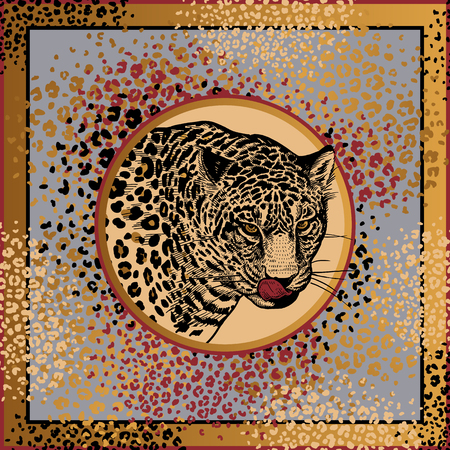 Animal print. African predator Leopard, fur spots. Vector illustration. Print of gold foil, black and red color on grey background. Abstract pattern. Template for design scarf or pillow. Beast style. Ilustrace