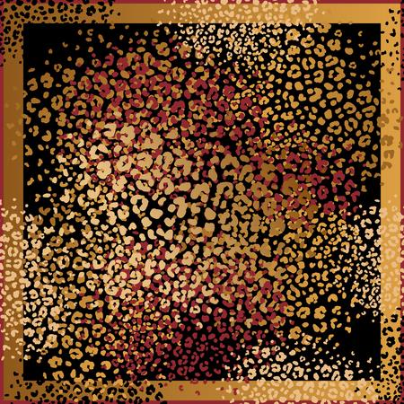 동물 프린트. 표범 모피 반점. 벡터 일러스트 레이 션. 검은색 바탕에 금박과 붉은 색을 인쇄합니다. 추상 패턴입니다. 디자인 스카프 또는 베개를 위한 템플릿입니다. 짐승 스타일.