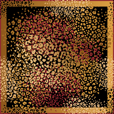 Animal print. Leopard fur spots. Vector illustration. Print of gold foil and red color on black background. Abstract pattern. Template for design scarf or pillow. Beast style. 向量圖像