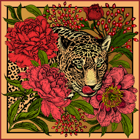 Garden peonies and wild leopard. Floral and Beast style. Template for design scarf or pillow. Print with animals and flowers. Wildlife motifs. Vector illustration. Gold, black, red and green. Ilustrace
