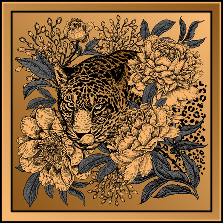 Garden peonies and wild leopard. Template for design scarf or pillow. Gold foil print with animals and flowers on black background. Wildlife motifs. Vector illustration. Beast style.