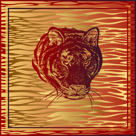 Animal print. African predator tiger, fur stripes. Vector illustration. Print of gold foil and red color on abstract background. Luxury pattern. Template for design scarf or pillow. Modern beast style