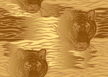Tiger stripes and tiger head close-up seamless pattern. Motives of animals of wildlife. Modern decor Beast style. Vector illustration. Template for paper, textile, wallpaper. Gold foil print Ilustrace